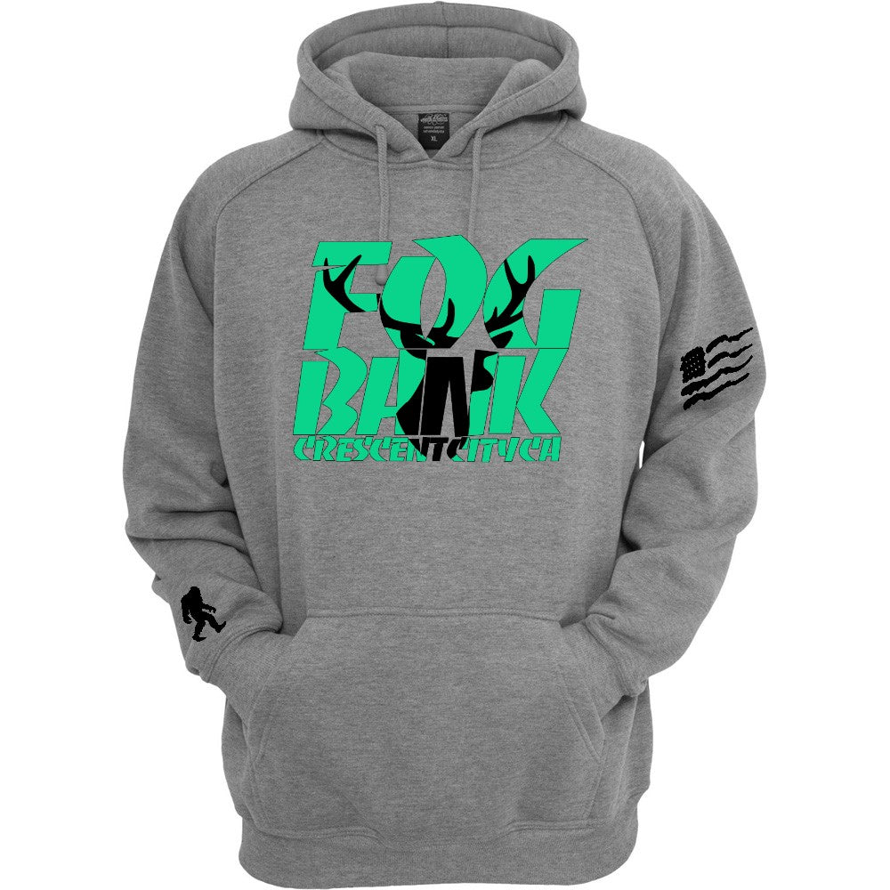 Fog Bank Stag hoodie in gray, mint, and black