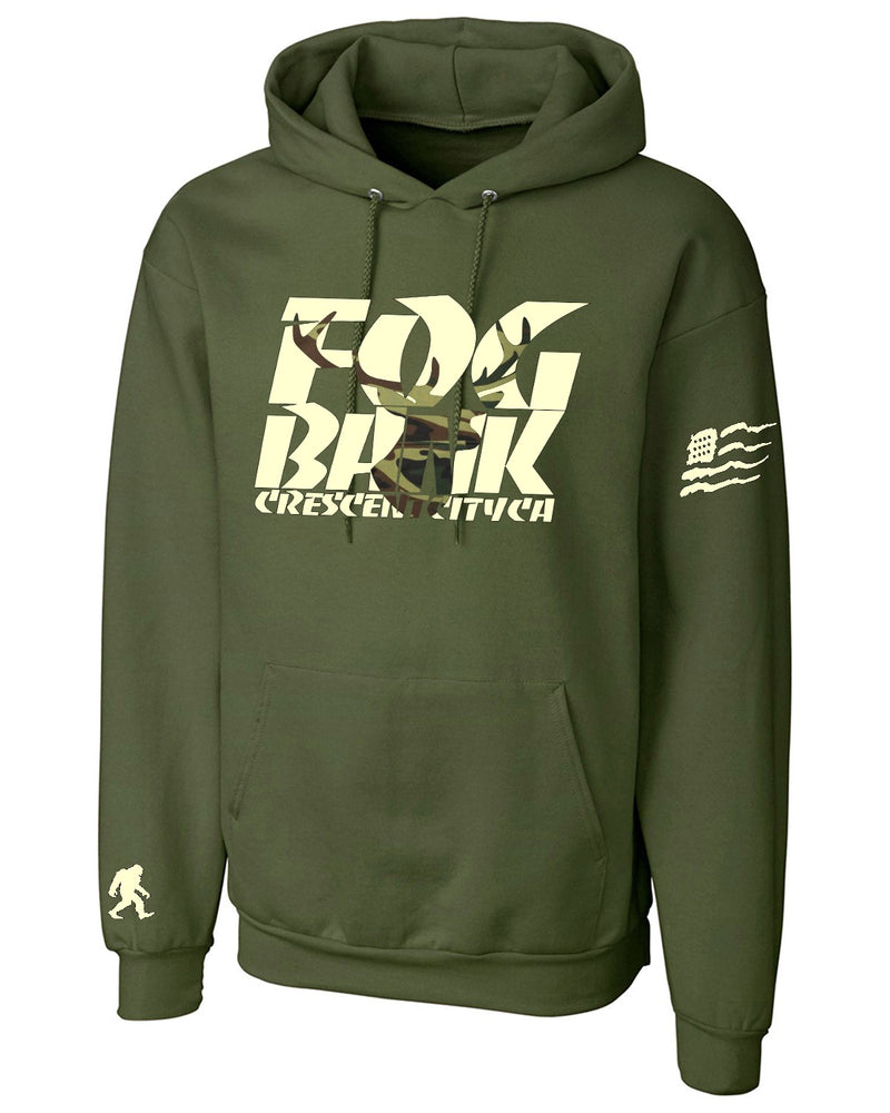 Fog Bank Stag hoodie in ODB Green with American Flag