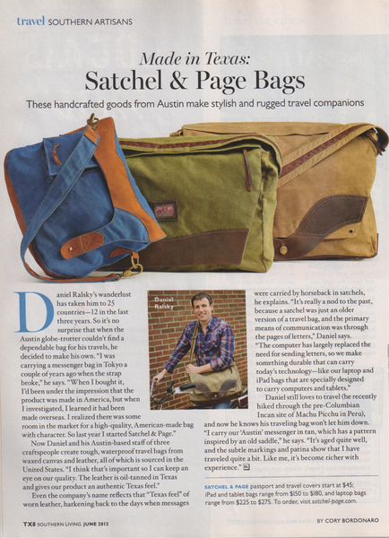 Satchel & Page in Southern Living magazine