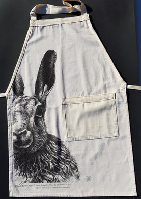 Wild Grey Fox - Moon Hare Apron made from Organic Cotton Tea Towel