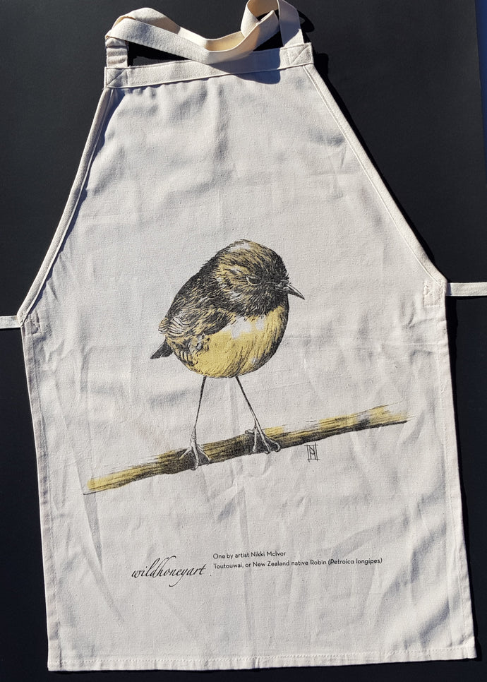 Wild Grey Fox - Robin Apron made from Organic Cotton Tea Towel