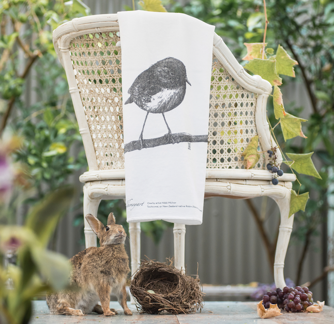 Wild Grey Fox - NZ Robin Fluffy Organic Cotton Tea Towel