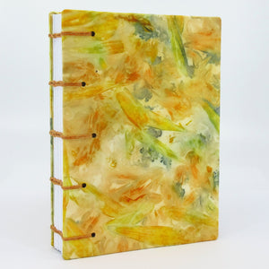 Zealous Zinnias Pocket Ecoprinted Journal or Sketchbook