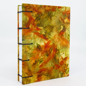 Dahlia Sunrise Pocket Ecoprinted Journal or Sketchbook
