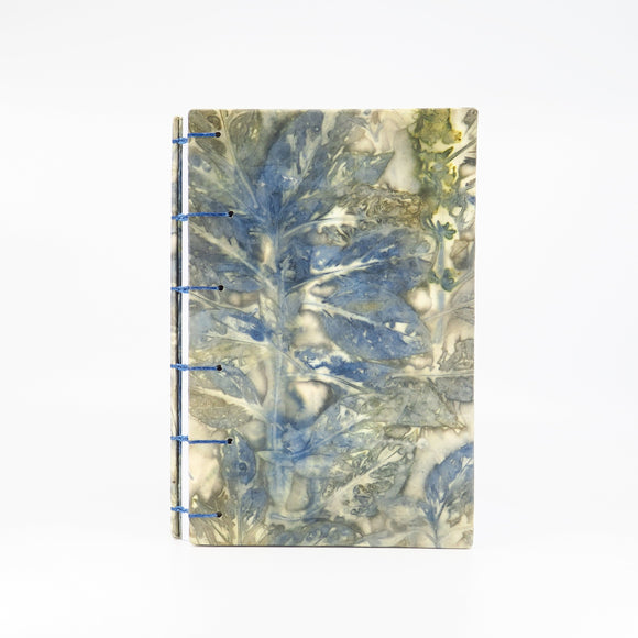 Garden Blues Ecoprinted Large Journal - Lined