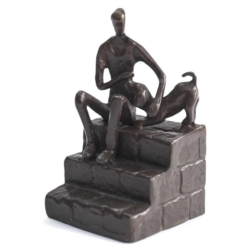 Solid Bronze Sculpture - Man and Dog on Steps