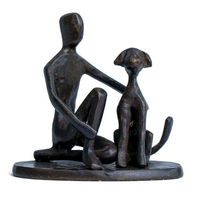 Solid Bronze Sculpture - One man and his Dog