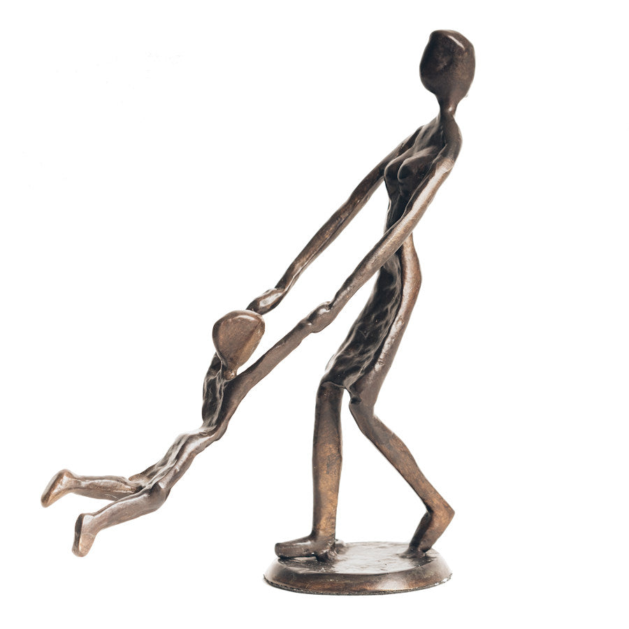 Solid Bronze Sculpture - Mother playing with Child