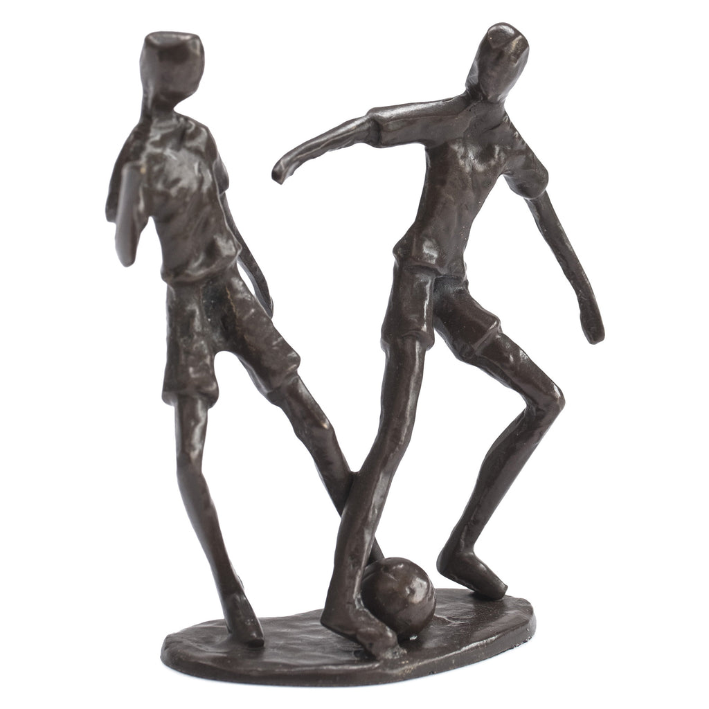 Solid Bronze Sculpture - Two Footballers