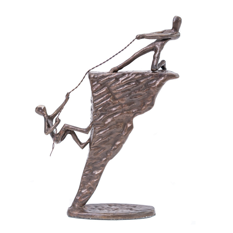 Solid Bronze Sculpture - Rock climbers
