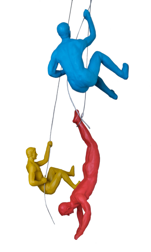 Coloured Climbing Men Trio