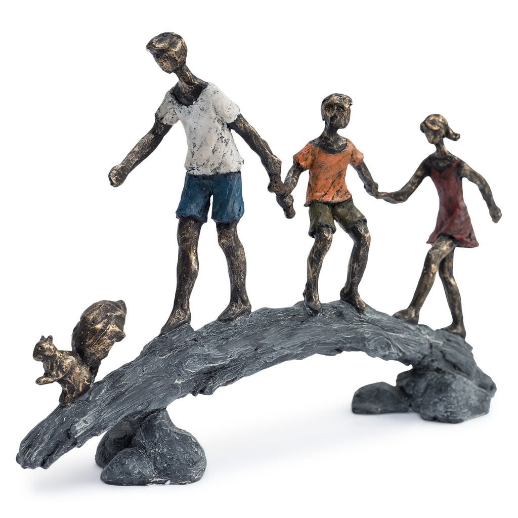 Children on Bridge Sculpture