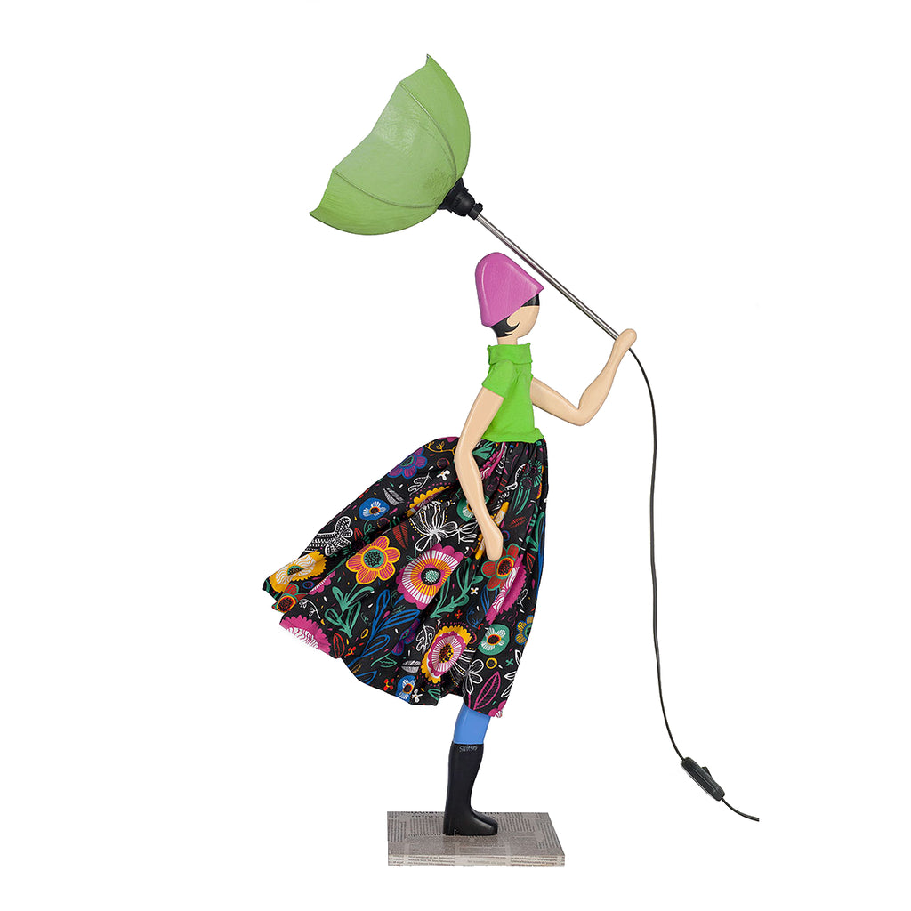Skitso Lady Lamp with green blouse and umbrella - Bentley's House of Gifts