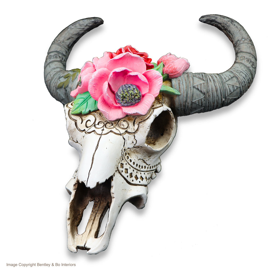 Ram Skull with Flowers