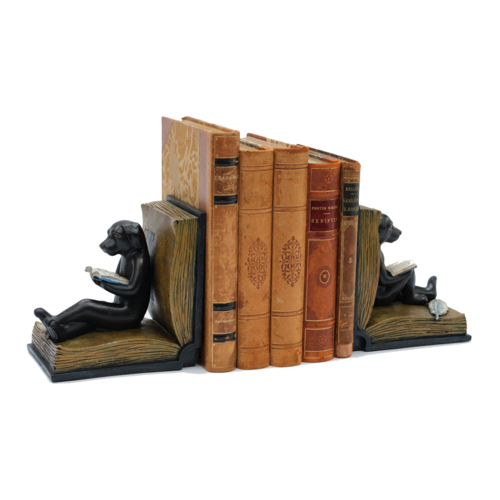 Dog Reading Bookends