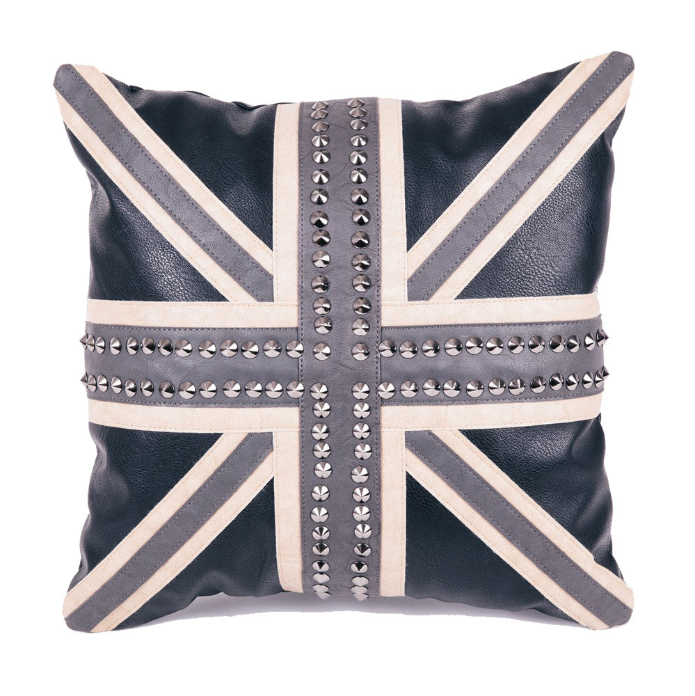 Faux Leather Cushion - Union Jack