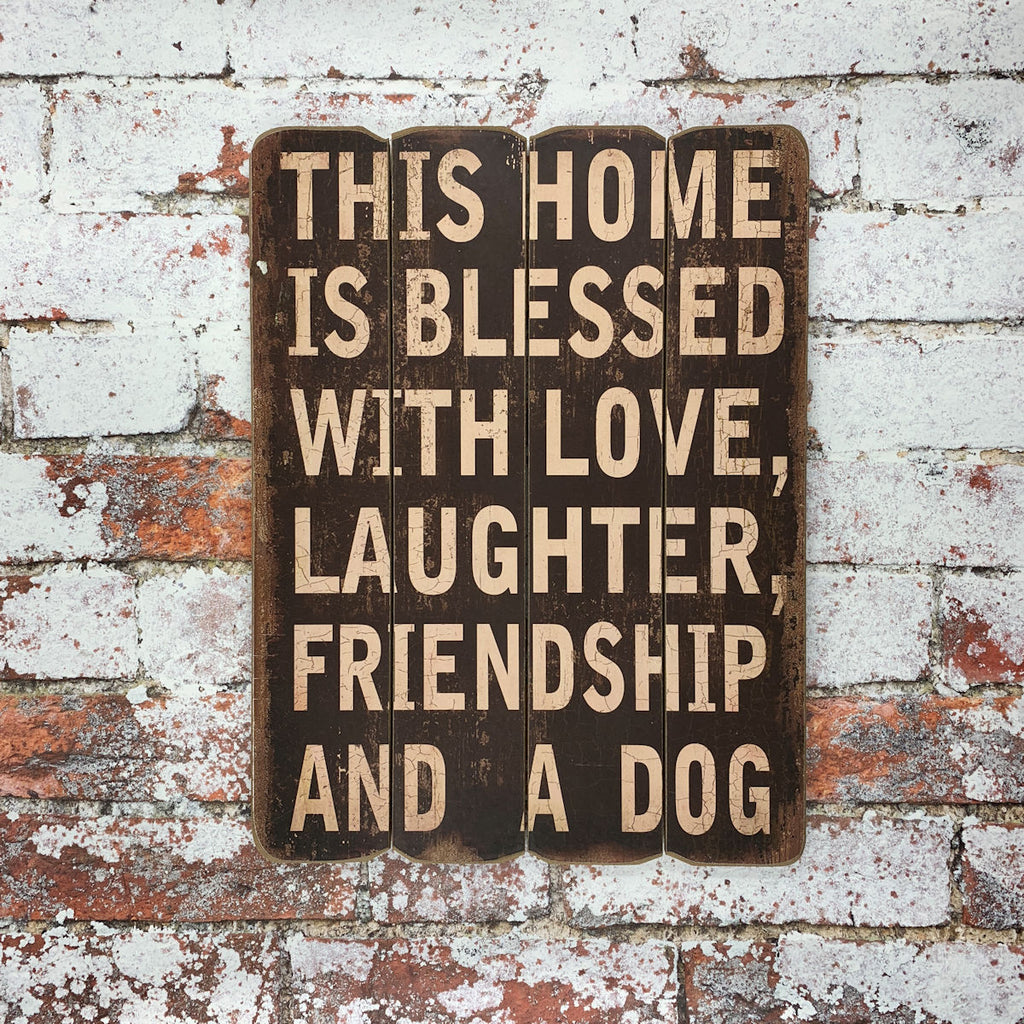 """This Home is Blessed"" Sign - Brown/Distressed"