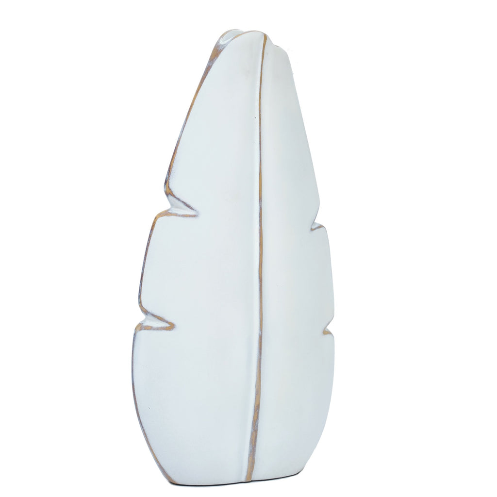 Medium White Leaf Vase
