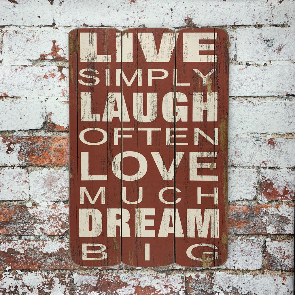 """Live Simply"" Sign - Red/Distressed"