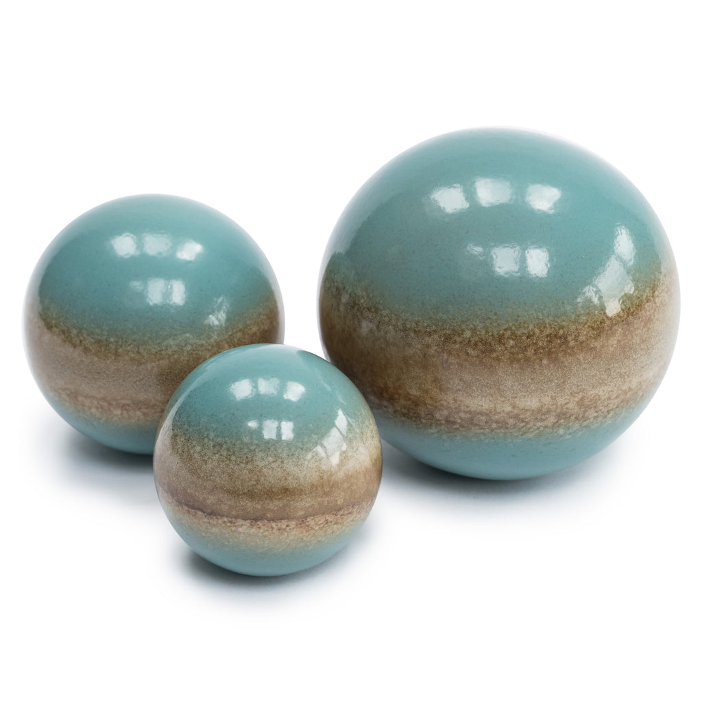 Set of 3 Blue decorative Ceramic Balls