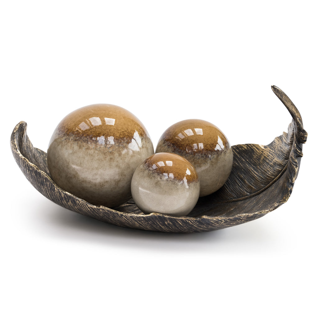 Set of 3 Brown decorative Ceramic Balls