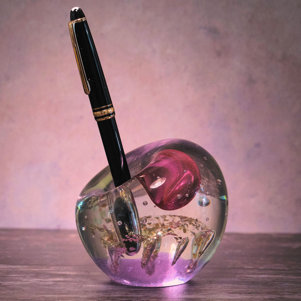 Pen Holder Glass Paperweight