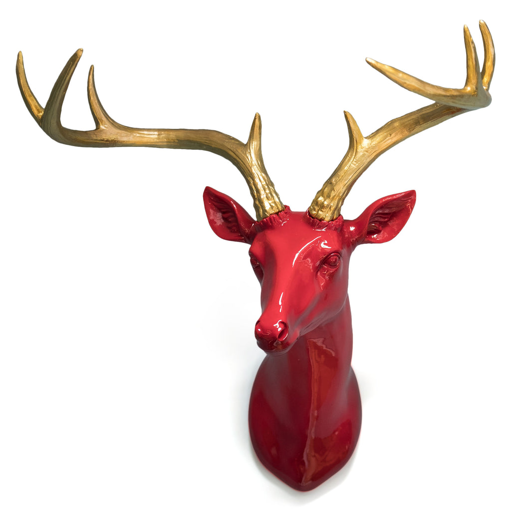 Red Deer Head with Gold Antlers Wall Mounted