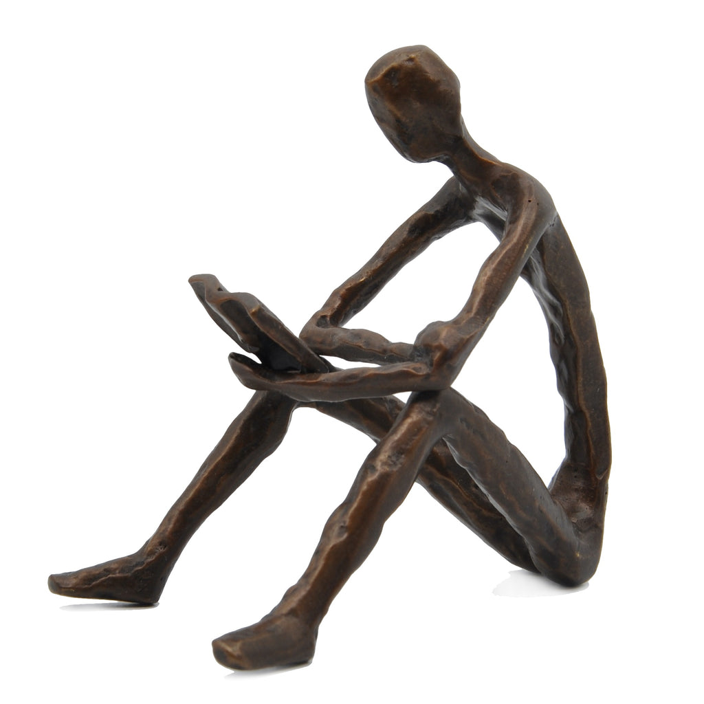 Solid Bronze Sculpture - Reading Man