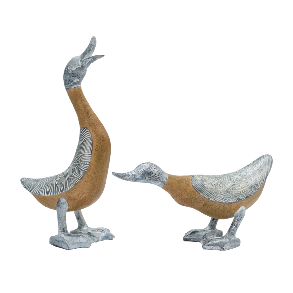 Silver Ducks with Wood Effect  (Pair)