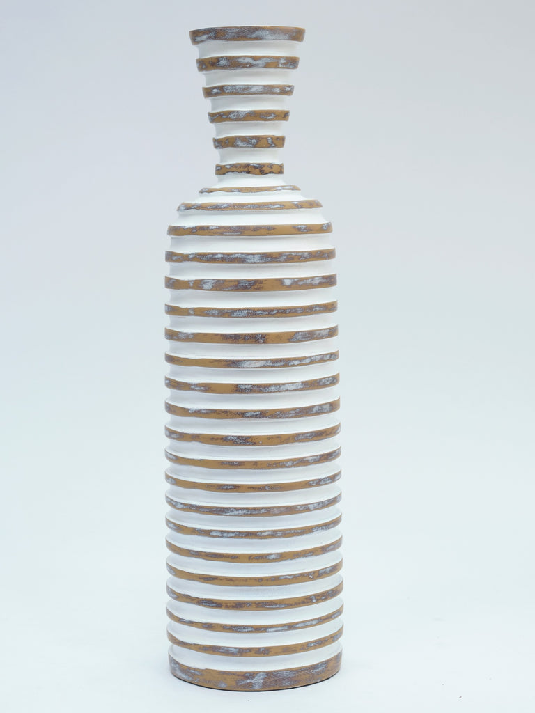 Large White Stripped Vase