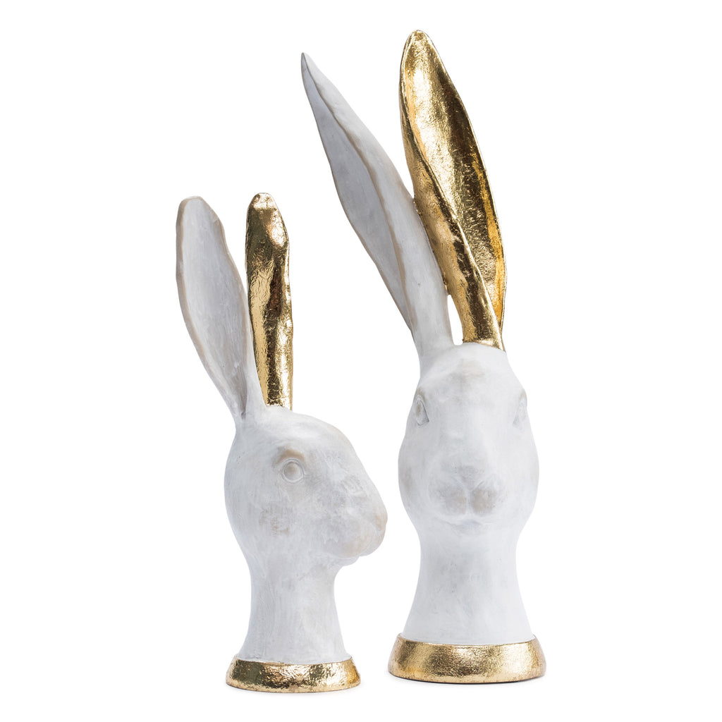 White and Gold Hares - Set of 2