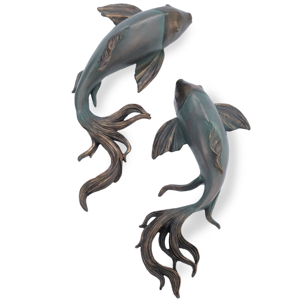 Medium and Small Bronze Fish (Pair)