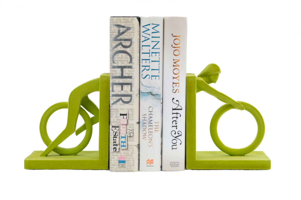 Velvet Cyclist Bookends Green