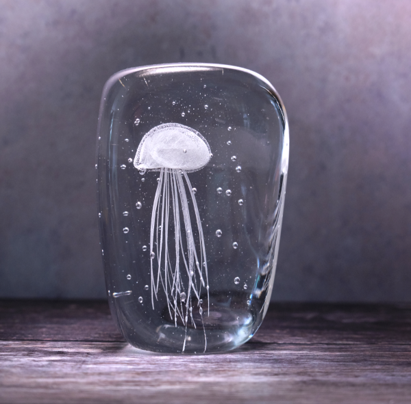 White Jellyfish in Ice Ornament