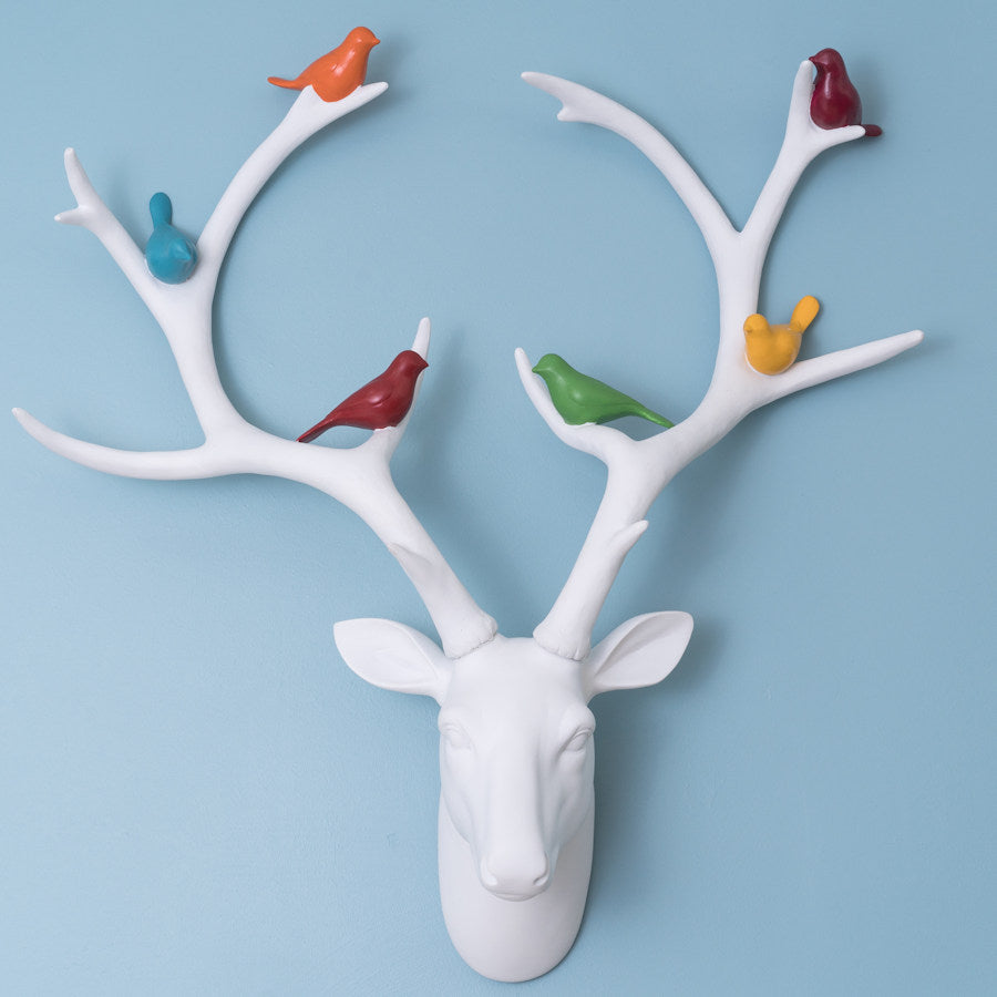 White Deer Head with Coloured Birds