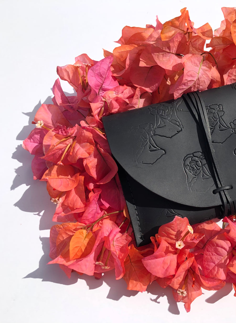 """Paniolo with her Pua"" Leather Clutch with Notebook & Pen in BLACK"