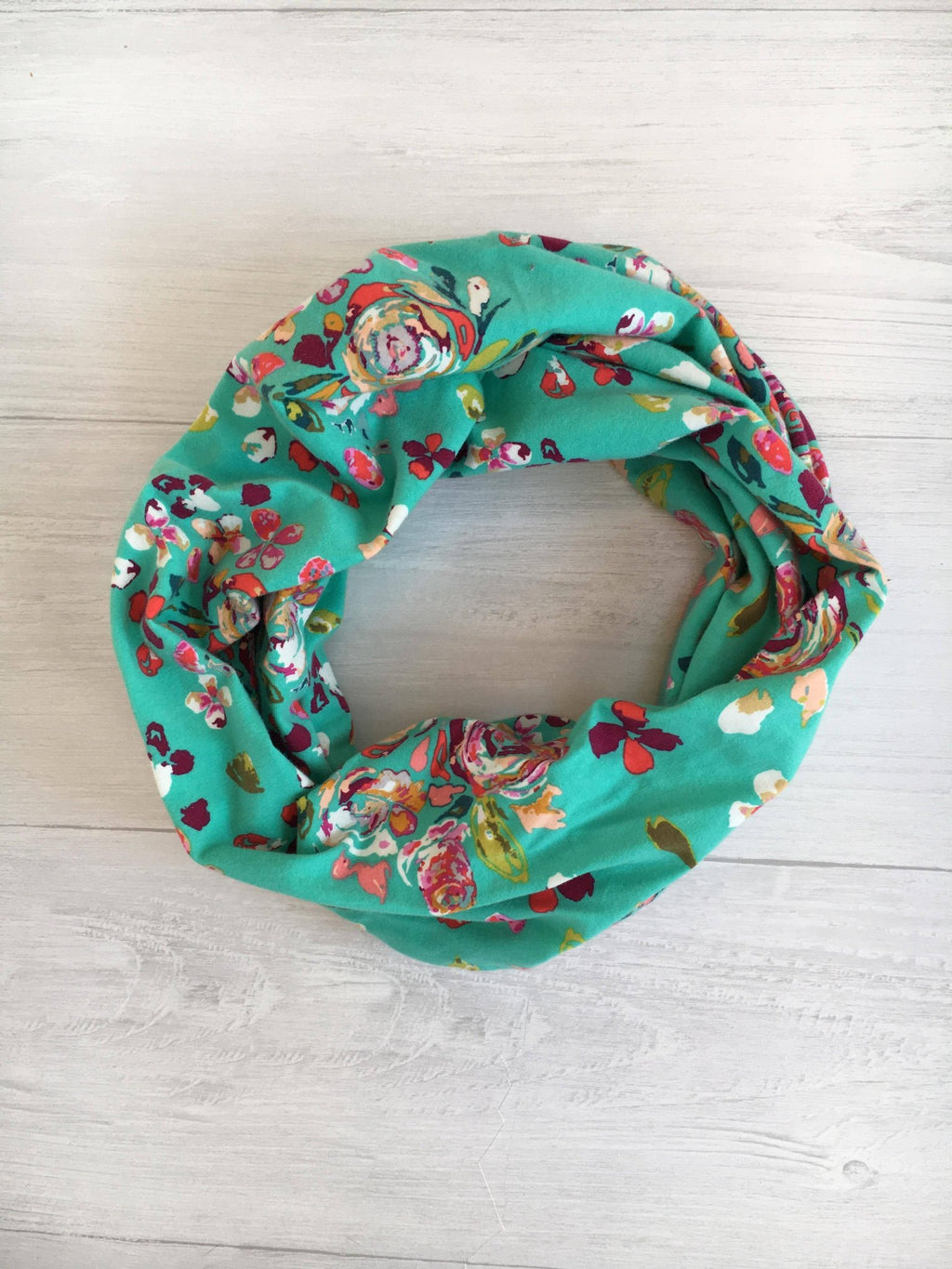 Painted Teal Infinity Scarf
