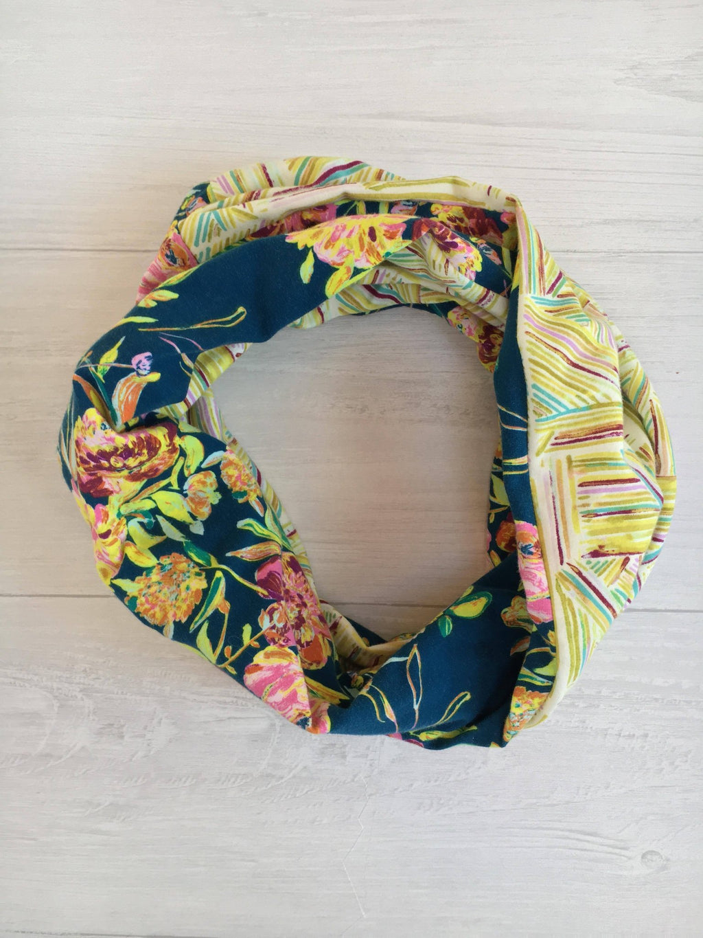Floral with Yellow Stripes Infinity Scarf