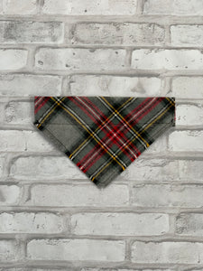 Classic Grey Plaid Dog Scarf