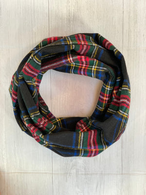 Black Classic Plaid Flannel Infinity Scarf