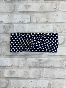 Navy Dots Faux Knot Headband