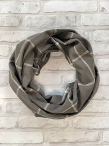 Grey and White Flannel Scarf