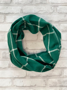 Emerald and White Flannel Scarf