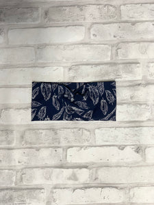 Feathers in Navy Faux Knot HeadBand
