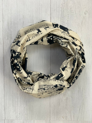 Etched Cream and Navy Infinity Scarf