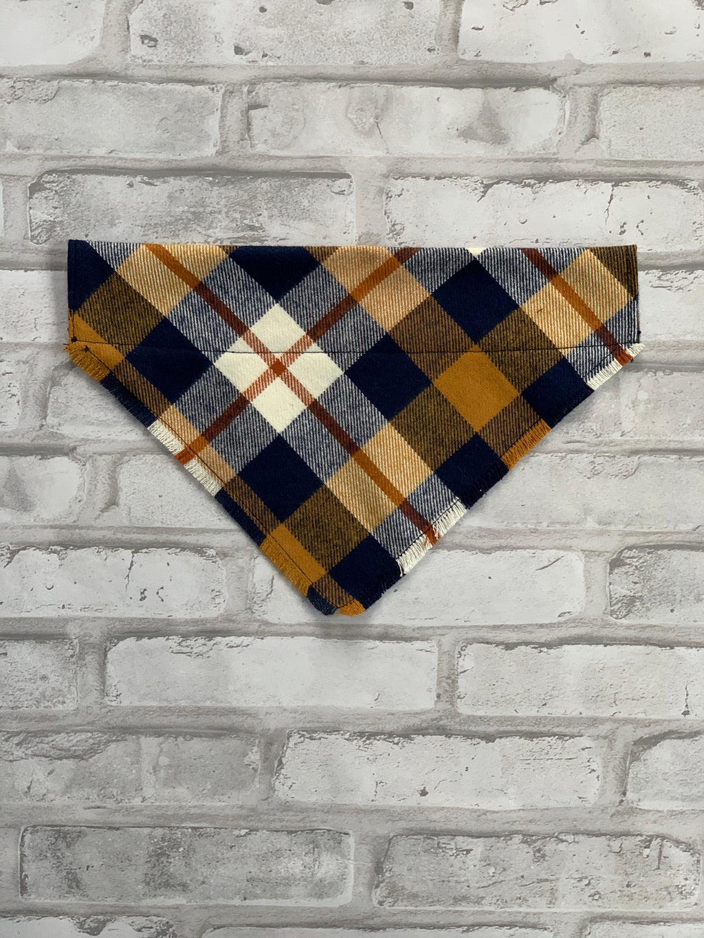 Gold & Navy Plaid Dog Scarf