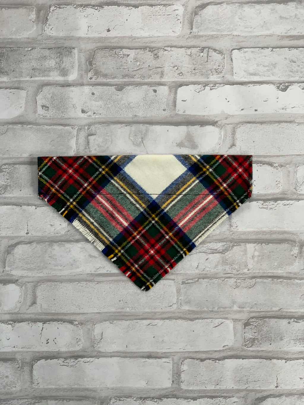 Classic White  Plaid Dog Scarf