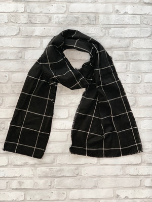 Black and White Flannel Scarf