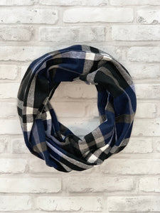 Blue and Black Flannel Scarf