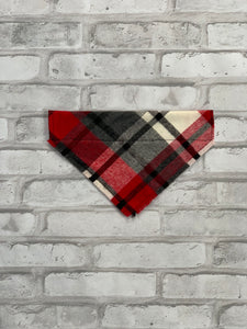 Red & Grey Plaid Dog Scarf